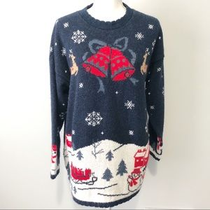 Christmas holiday sweater snowman reindeer large